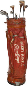 Baseball Collectibles:Others, 1970's Mickey Mantle Owned & Used Golf Bag & Clubs....