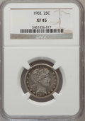 Barber Quarters: , 1902 25C XF45 NGC. NGC Census: (4/205). PCGS Population (11/279).Mintage: 12,197,744. Numismedia Wsl. Price for problem fr...