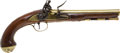 Handguns:Muzzle loading, 18th Century Brass mounted British Flintlock Holster Pistol....
