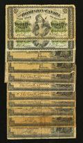 Canadian Currency: , Canadian 25¢ Shinplasters 1870, 1900, and 1923 Very Good orBetter.. ... (Total: 11 notes)