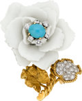 Estate Jewelry:Brooches - Pins, Turquoise, Porcelain, Diamond, Platinum, Gold Brooch, David Webb. ...