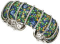 Estate Jewelry:Bracelets, Sapphire, Peridot, Diamond, White Gold Bracelet. ...