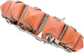 Estate Jewelry:Bracelets, Coral, Diamond, White Gold Bracelet. ...
