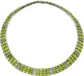Estate Jewelry:Necklaces, Peridot, Diamond, White Gold Necklace . ...