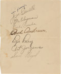 Autographs:Others, Circa 1932 New York Yankees Partial Team Signed Sheet with Gehrig....