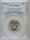 Jefferson Nickels, 1947-S 5C MS66 PCGS. Ex: Compradore Collection. PCGS Population(146/1). NGC Census: (95/11). Mintage: 24,720,000. Numismed...