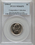Jefferson Nickels, 1990-P 5C MS66 Full Steps PCGS. Ex: Compradore Collection. PCGSPopulation (111/3). NGC Census: (18/14). (#84124)...