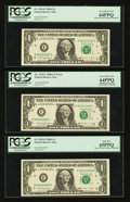 Error Notes:Error Group Lots, Fr. 1911-K $1 1981 Federal Reserve Notes. Three ConsecutiveExamples. PCGS Gem New 65PPQ; Fr. 1915-E $1 1988A Federal Reserve... (Total: 6 notes)