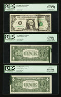 Error Notes:Ink Smears, Fr. 1908-C $1 1974 Federal Reserve Note. PCGS About New 53PPQ;. Fr.1908-K $1 1974 Federal Reserve Notes. Two Examples. PCGS C...(Total: 3 notes)