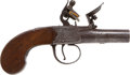 Handguns:Muzzle loading, C.1800 Center Hammer British Flintlock Pocket Pistol. ...