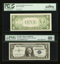 Error Notes:Error Group Lots, Fr. 1613N $1 1935D Narrow Silver Certificate. PCGS New 62PPQ;. Fr.1619 $1 1957 Silver Certificate. PMG Extremely Fine 40 EPQ;...(Total: 4 notes)