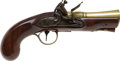 Handguns:Muzzle loading, C. 1790 Brass Mounted British Flintlock Blunderbuss Pistol....