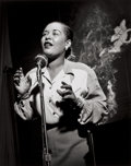 Photographs:20th Century, HERMAN LEONARD (American, 1923-2010). Billie Holiday, New YorkCity, 1949. Gelatin silver, printed later. 12 x 9-1/2 inc...