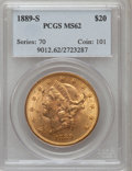 Liberty Double Eagles: , 1889-S $20 MS62 PCGS. PCGS Population (713/336). NGC Census:(519/108). Mintage: 774,700. Numismedia Wsl. Price for problem...