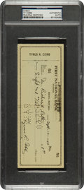 Autographs:Checks, 1950 Ty Cobb Signed Check, PSA/DNA Authentic....