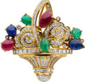 Estate Jewelry:Brooches - Pins, Diamond, Ruby, Emerald, Sapphire, Gold Pendant-Brooch. ...