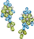 Estate Jewelry:Earrings, Peridot, Blue Topaz, Diamond, White Gold Earrings, Eli Frei. ...