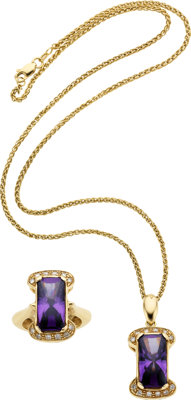 Amethyst, Diamond, Gold Jewelry Suite