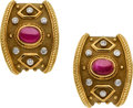 Estate Jewelry:Earrings, Ruby, Diamond, Gold Earrings. ...