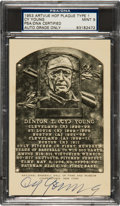 Autographs:Post Cards, Circa 1950 Cy Young Signed Black & White Hall of Fame Plaque,PSA/DNA Mint 9....