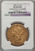 Liberty Double Eagles: , 1889-CC $20 -- Improperly Cleaned -- NGC Details. AU. NGC Census:(62/536). PCGS Population (70/337). Mintage: 30,945. Numi...