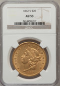 Liberty Double Eagles: , 1862-S $20 AU53 NGC. NGC Census: (125/289). PCGS Population(42/78). Mintage: 854,173. Numismedia Wsl. Price for problem fr...