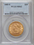 Liberty Eagles: , 1885-S $10 MS62 PCGS. PCGS Population (244/80). NGC Census:(243/73). Mintage: 228,000. Numismedia Wsl. Price for problem f...