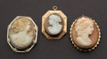 Estate Jewelry:Cameos, Antique Gold Shell Cameos. ... (Total: 3 Items)