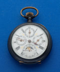 Timepieces:Pocket (post 1900), Swiss Gun Metal Moon Phase Calendar Pocket Watch. ...