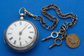 Timepieces:Pocket (pre 1900) , Swiss Early Silver Verge Fusee Pocket Watch. ...
