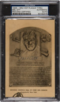 Autographs:Post Cards, Early 1950's Mel Ott Signed Hall of Fame Plaque, PSA Authentic....