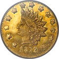 California Fractional Gold, 1872 $1 Indian Round 1 Dollar, BG-1206, High R.6, MS62 PCGS....