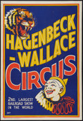 """Movie Posters:Miscellaneous, Hagenbeck-Wallace Circus (1937). Circus Poster (28' X 41""""). Circus.. ..."""