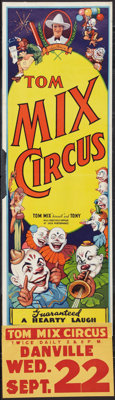 "Tom Mix Circus Poster (Tom Mix, 1937). Poster (14"" X 42"") With Attached Date and Place Snipe (9"" X 14&quo..."