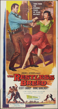 "The Restless Breed (20th Century Fox, 1957). Three Sheet (41"" X 81""). Western"