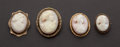 Estate Jewelry:Cameos, Four Antique Cameo Pins. ... (Total: 4 Items)