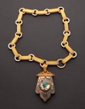 Estate Jewelry:Necklaces, Early Victorian Gilt Metal Necklace With Enameled Center PieceUnder Glass. ...