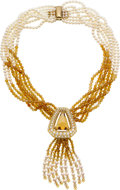 Estate Jewelry:Necklaces, Citrine, Diamond, Cultured Pearl, Gold Necklace, Neiman Marcus. ...