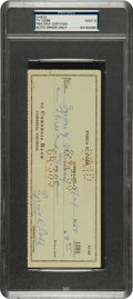 Autographs:Checks, 1958 Ty Cobb Signed Check, PSA/DNA Mint 9....