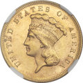 Three Dollar Gold Pieces, 1883 $3 MS63+ NGC. CAC....