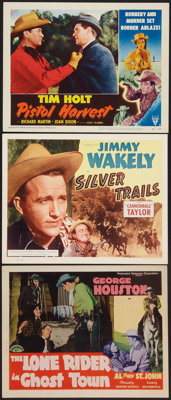 "The Lone Rider in Ghost Town and Others Lot (PRC, 1941). Title Lobby Cards (2) and Lobby Card (11"" X 14""). Wes..."