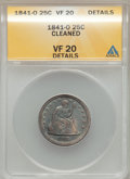 Seated Quarters, 1841-O 25C -- Cleaned -- ANACS. VF20 Details. NGC Census: (1/56).PCGS Population (1/63). Mintage: 452,000. Numismedia Wsl....
