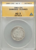 Seated Quarters: , 1883 25C -- Cleaned, Damaged -- ANACS. AG3 Details. NGC Census:(0/74). PCGS Population (1/99). Mintage: 14,400. Numismedia...