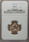 Jefferson Nickels: , 1949 5C MS66 NGC. NGC Census: (104/5). PCGS Population (71/0).Mintage: 60,652,000. Numismedia Wsl. Price for problem free ...