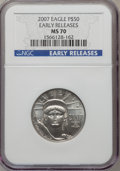 Modern Bullion Coins, 2007 $50 Half-Ounce American Platinum Eagle Early Releases MS70NGC....