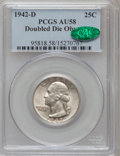 Washington Quarters, 1942-D 25C Doubled Die Obverse AU58 PCGS. CAC. FS-101....