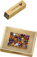 Estate Jewelry:Boxes, Retro Multi-Stone, Gold Compact & Lipstick . ...
