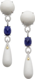 Estate Jewelry:Earrings, Diamond, Iolite, Porcelain, White Gold Earrings. ...