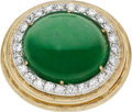 Estate Jewelry:Rings, Jadeite Jade, Diamond, Platinum, Gold Ring, circa 1960. ...