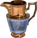 Political:3D & Other Display (pre-1896), Andrew Jackson: Blue Ground Copper Lustre Pitcher....